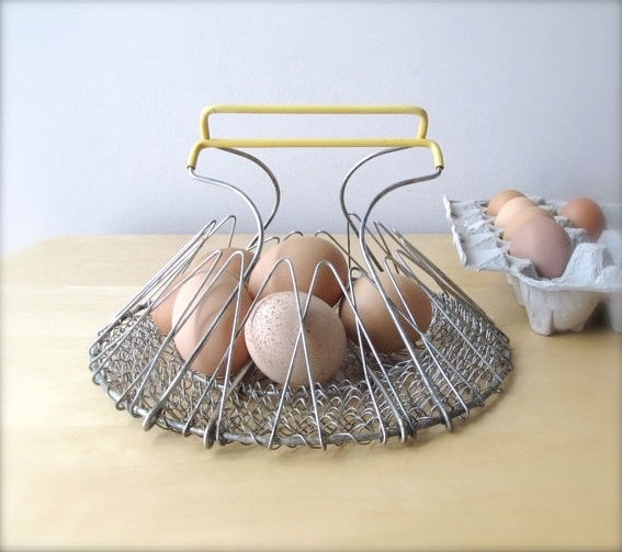 Vintage wire egg basket with butter yellow handles, farmhouse gathering basket, rustic kitchen decor