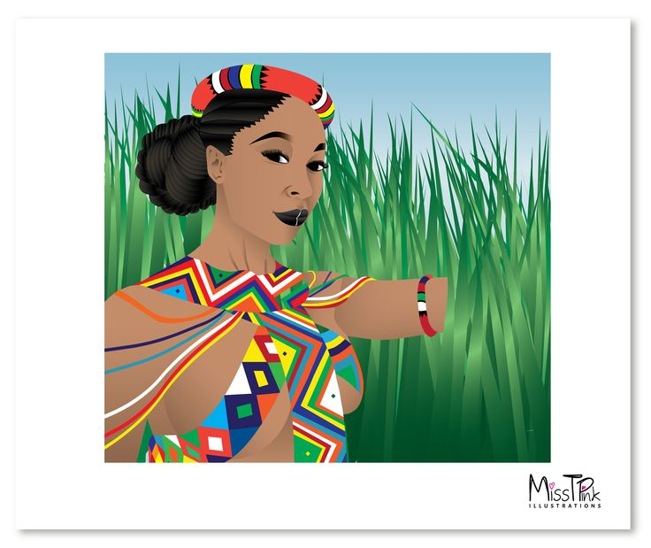 """""""Culture is not written down like religion, it is passed down through practice from our forefathers. Thus each family's rituals are unique,"""" said Minnie Dlamini.  #zulu #culture #tradition #values #beliefs #proudly #southafrican #woman #inspirational #hardworking #confident #ownskin #illustration #artwork"""