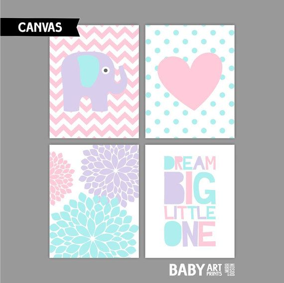 Light Pink Aqua and Purple Girl Nursery Canvas by babyartprints