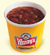 "WENDY'S CHILI RECIPE: ~ From: ""RECIPE SECRETS.NET"" ~ Recipe Courtesy Of: ""WENDY'S"". ~ Yield: (6 servings). *** Rich and meaty chili. Low in fat and high in fiber."