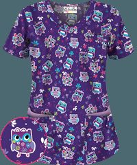UA Owl Be Good Grape V-neck Print Scrub Top