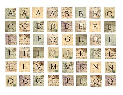 How To Make Vintage French Postcard Scrabble Tile Charms with Printable Freebie Vintage Letters