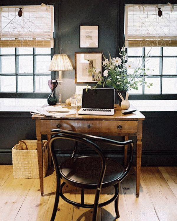Lots of natural light and a lovely old desk.