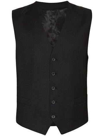 Klassisk sort vest i komfortabel ullstretch med to lommer foran og praktisk justering i ryggen. Sort