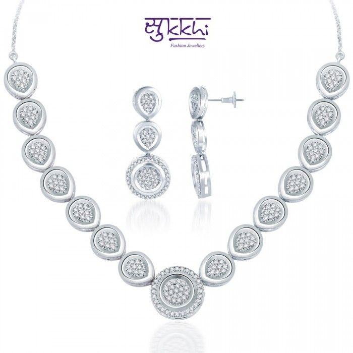 Striking Round CZ Necklace Set | High5Store.com