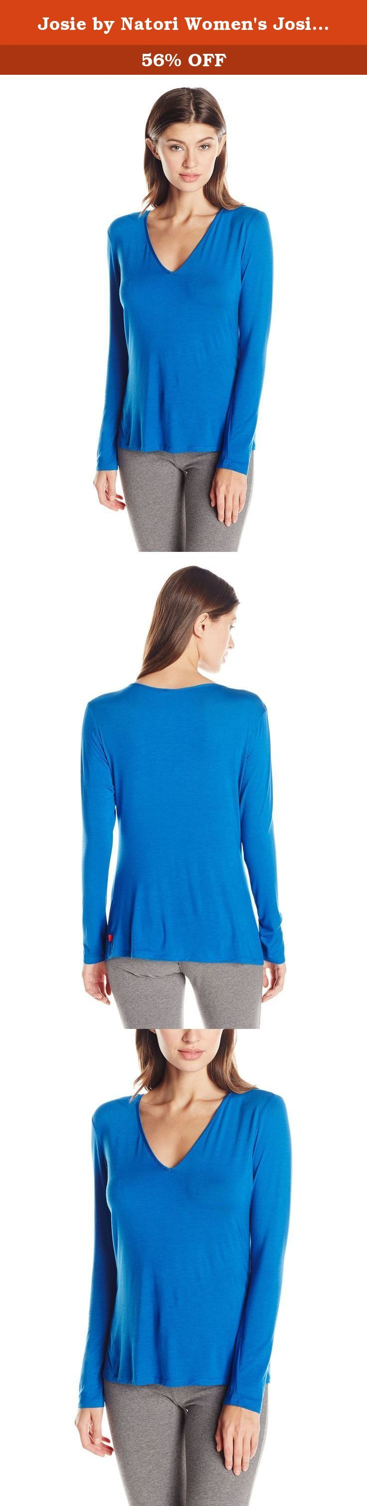 Josie by Natori Women's Josie Tees Long Sleeve Pajama Top, Festive Blue, Small. Ultra-soft jersey rest easy long sleeve V-neck top.