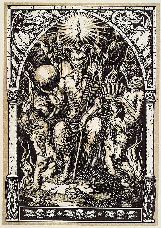 Satan Presiding at the Sabbat attended by demons found in Maurice Garcon's La Vie Excreble de Guillemette Babin (c.1560)