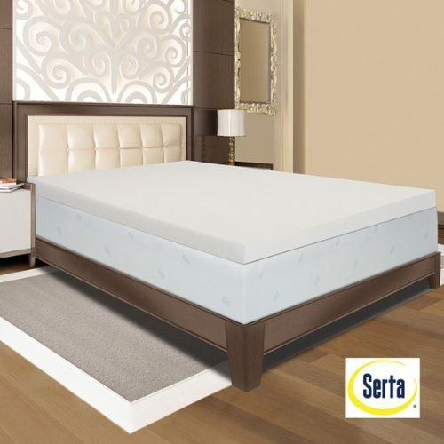 Get A Good Night Of Sleep With This Comfortable Serta Memory Foam Mattress Topper It Is Antimicrobial And Resists Dust Mites To Reduce Allergens