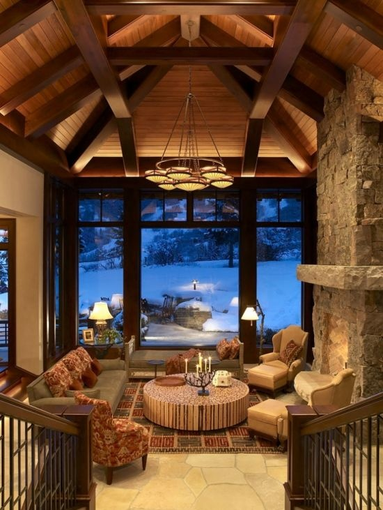 Mountain Ski Retreat: Furniture Layout, Dreams Houses, The View, Mountain Skiing, Rustic Living Rooms, High Ceilings, Skiing Resorts, Traditional Living Rooms, Skiing Retreat