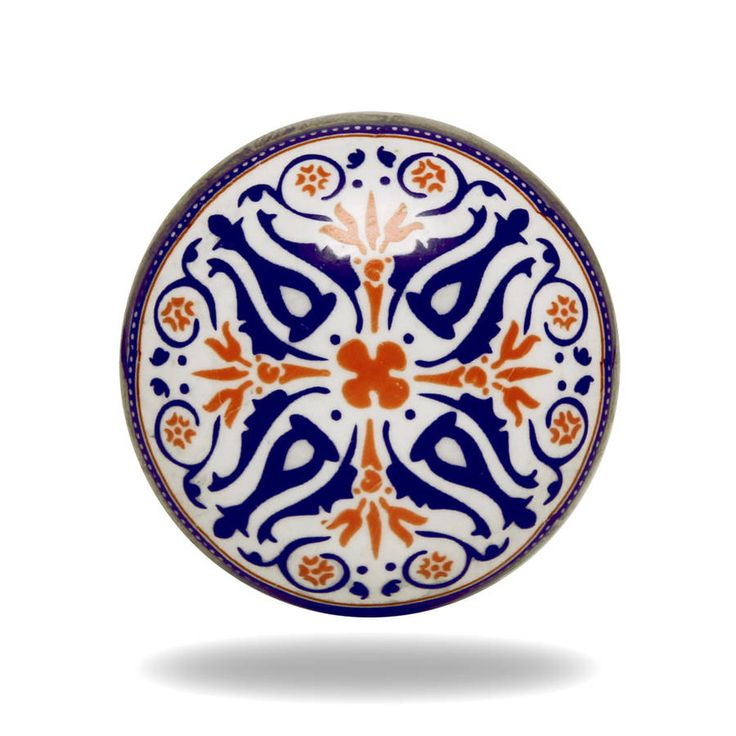 Round Ceramic Tangier Knob In White, Orange And Blue