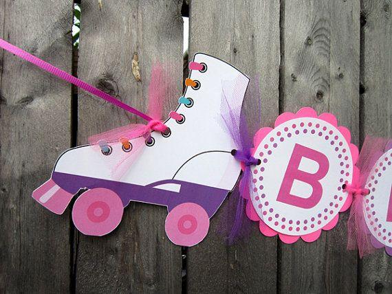 Roller Skate Banner Roller Skate Birthday Banner  by CraftyCue