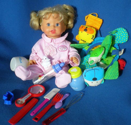 Fisher-Price-Mattel-Puppe-36-cm-Vinylpuppe-Funktionspuppe-Zubehoer-Baby-Doll