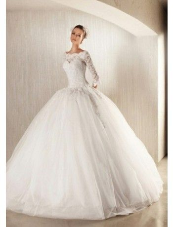Ball Gown Tulle Lace Half Sleeves Winter Wedding Dress - Lace Wedding Dresses - Wedding Dresses
