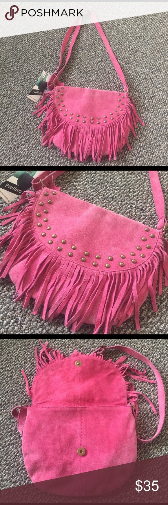 Pink suede fringe handbag w/ metal stud new w tag! Adjust the strap length to your liking. New and perfect condition! Retails $108. Wear as crossbody or shoulder bag! pielino Bags Shoulder Bags