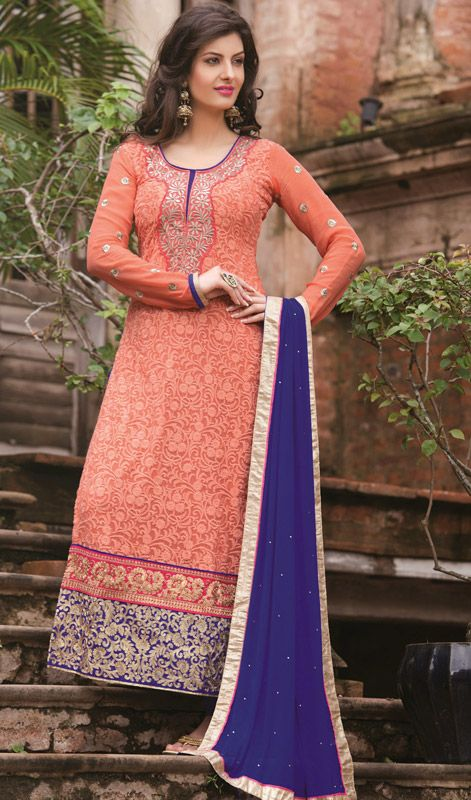 Purple and Tomato Georgette Embroidered Churidar Suit