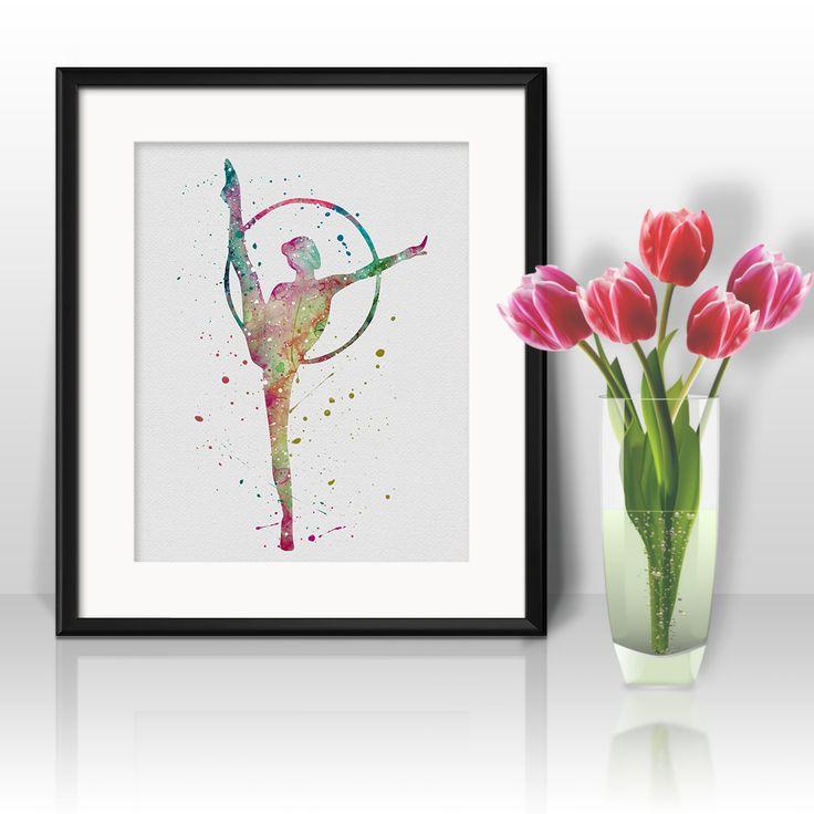 Sport watercolor art gymnastics art prints nursery poster nursery wall decor