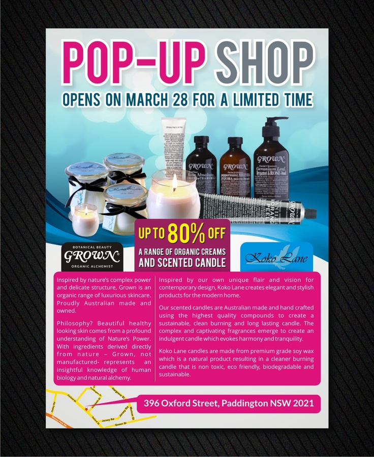 Flyer design concept for Popup Shop.