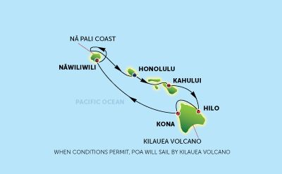 Norwegian Hawaiian cruise map. 7 day cruise around the Hawaii Islands. Stop at 4 islands.