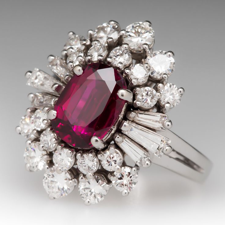 Vintage Ruby Cocktail Ring w/ Diamond Spray