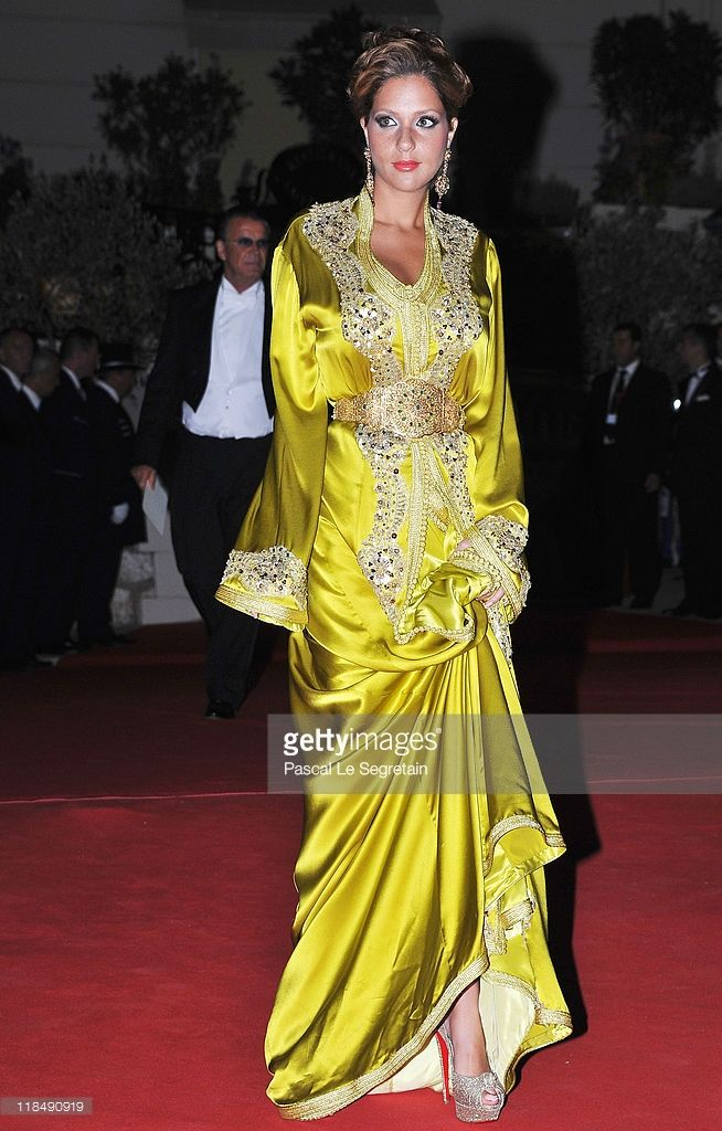 Lalla Soukaina Filali of Morocco attends a dinner at Opera terraces after the religious wedding ceremony on July 2, 2011 in Monaco. The Roman-Catholic ceremony followed the civil wedding which was held in the Throne Room of the Prince's Palace of Monaco on July 1. With her marriage to the head of state of the Principality of Monaco, Charlene Wittstock has become Princess consort of Monaco and gains the title, Princess Charlene of Monaco. Celebrations including concerts and firework displays…