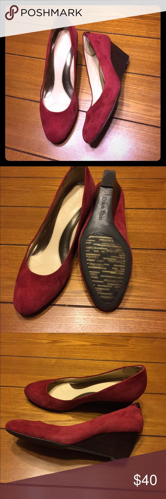💥reduced!!!💥 Calvin Klein red suede wedges Barely worn! Calvin Klein Shoes