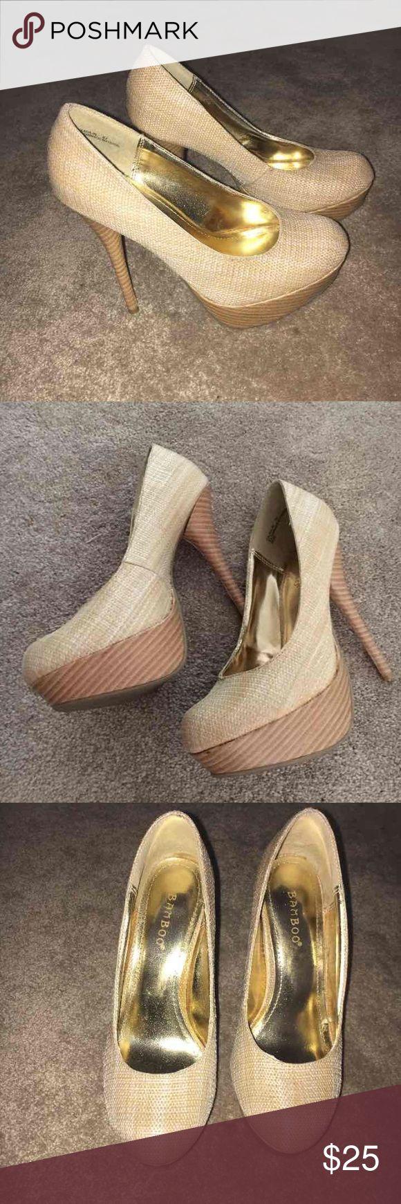 Beige high heels pumps like new 🎀 Beautiful beige pumps like new size 6.6   Bamboo bamboo Shoes Platforms