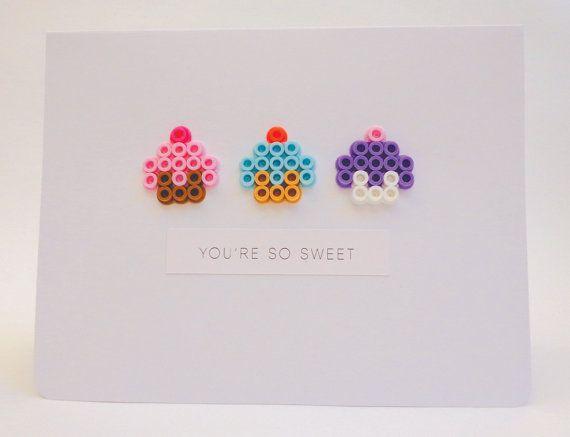 Perler Bead Dimensional Cupcakes Birthday Card