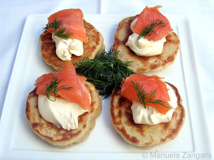 Buckwheat Blini with crème fraîche and smoked salmon