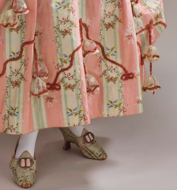 Dress and Petticoat (Robe a la Polonaise) (detail of shoes and hem) Spain; Textile- France, circa 1775, Silk, LACMA M.2007.211.720a-b
