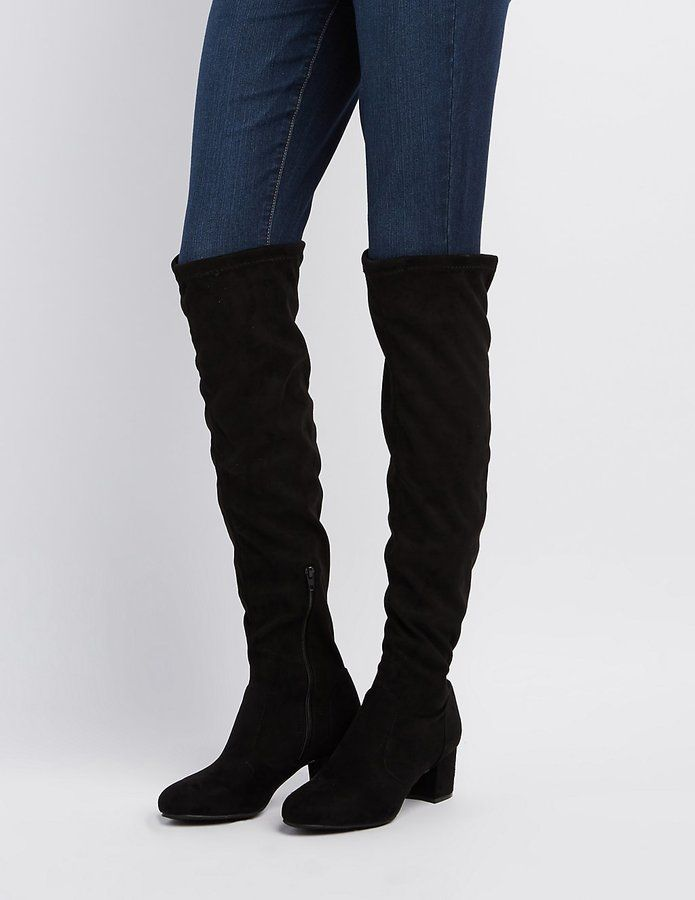 Charlotte Russe Bamboo Over-The-Knee Block Heel Boots