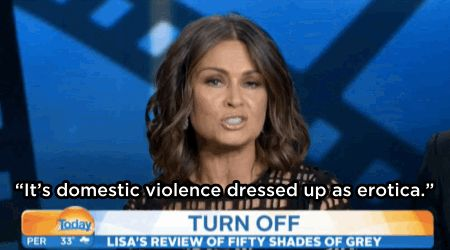 Lisa Wilkinson did NOT like the Fifty Shades Of Grey movie. Good to know that I won't be missing much. Not one I ever plan on seeing. Far more interested in when the eighth season of Doctor Who will be on Hulu.