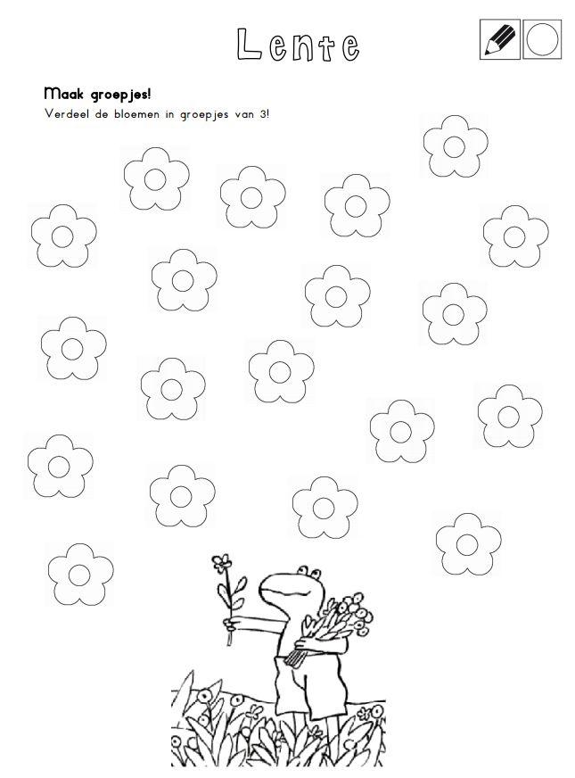 Maak groepjes. Verdeel de bloemen in groepjes van 3. [Juf Shanna]