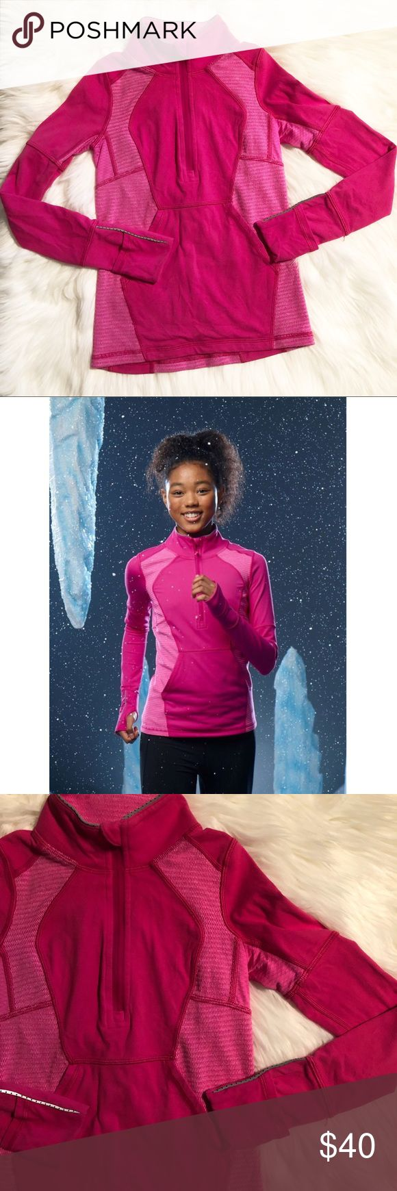 Ivviva Summit Sprinter Zip Pulover Ivviva (Lululemons kids line) girls size 6 Summit Sprinter Zip Pullover. Has thumb holes. Small snag on bottom front. ✨ Feel free to ask any questions. No trades or outside transactions. Offers welcomed. Bundle to save more! Ivivva Jackets & Coats