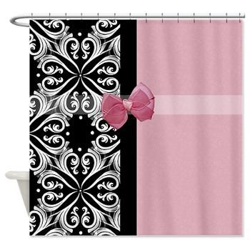 pink and black shower curtain. Parisian Damask Pink Ribbon Shower Curtain  An elegant pink and black style pattern with 75 best Curtains images on Pinterest Animal patterns