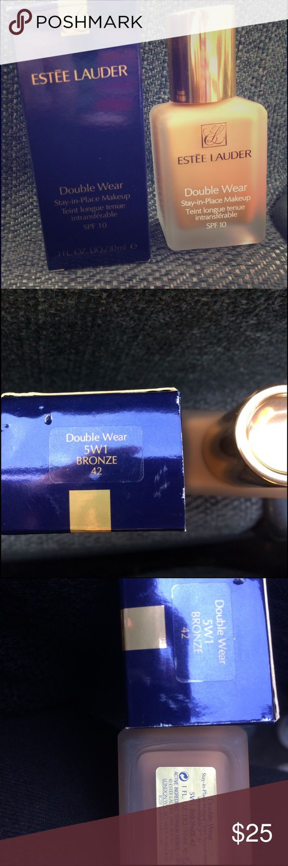 ESTÉE LAUDER DOUBLE WEAR FOUNDATION ESTÉE LAUDER DOUBLE WEAR FOUNDATION in color: Bronze 5W1. Full size bottle with box, never used. 1 Fl. Oz. Estee Lauder Makeup Foundation