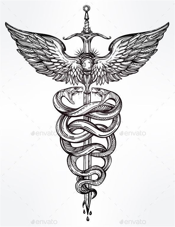 #Tattoo Caduceus Symbol Of God Mercury Illustration Vector EPS, Click to See Mor…