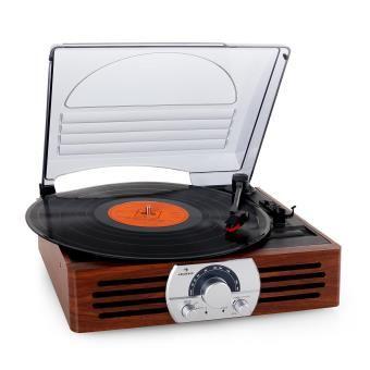 auna TT-83N Platine vinyle style rétro avec radio FM (33 / 45 tours, antenne télescopique) - marron