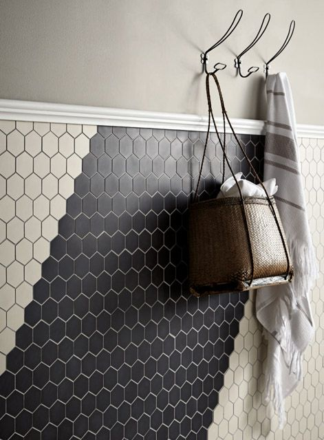 Black And White Hexagon Bathroom Tile Design