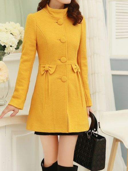 Women' Casual Office Street  Long Sleeve   Overcoat Overcoats from stylishplus.com