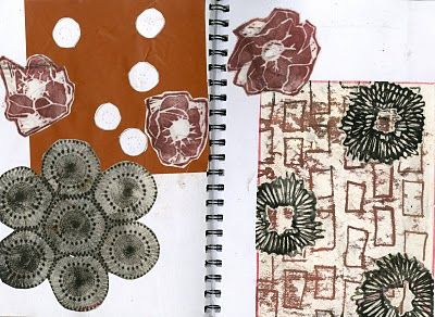 Leather Sketchbook- Easter Monoprinting , Textiles Sketchbooks , Inspiration for CAPI Students @ milliande.com, GCSE Textiles Sketchbook #textiles #sketchbook #portfolio #art with thanks to Textile Artist Jo Faulkner Textile Design
