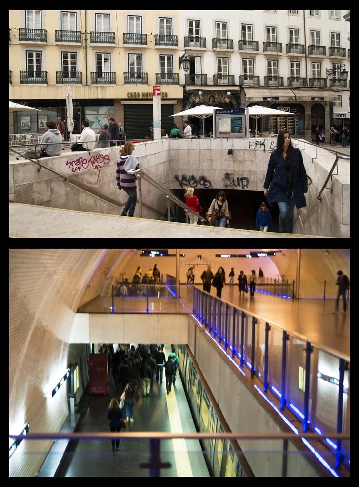 """BAIXA-CHIADO (Subway)- A estação de metro """"Baixa- Chiado"""", serve diariamente esta zona da cidade no transporte de pessoas. Este meio de transporte tornou-se ao longo dos tempos no principal meio de locomoção, chegando às sete colinas da nossa cidade. The subway has become the main mean of transportation over the time due to its speed in getting around the city and its surroundings.  """"Baixa- Chiado"""" is the station that thousands of people use to come to the city centre. PORTUGAL- TRANSPORT"""