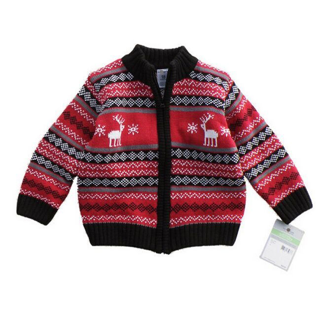 045 оптовая продажа бренды 2014 мода мальчиков Sweatercoats мальчики свободного покроя свитер молния полосатый красный олень мандарин воротник много