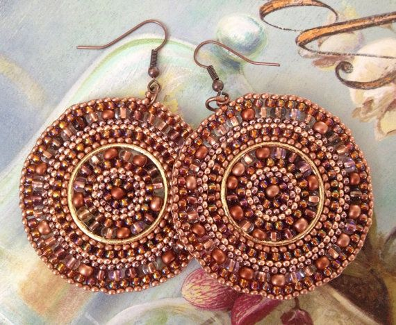 Beaded Earrings  Big Bold Copper Disc Seed Bead by WorkofHeart