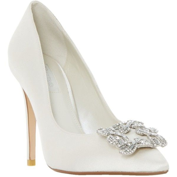 Dune Bridal Collection Breanna Jewel Stiletto Court Shoes ($140) ❤ liked on Polyvore featuring shoes, pumps, ivory satin, pointed-toe pumps, flat bridal shoes, low pumps, high heel pumps and bridal pumps