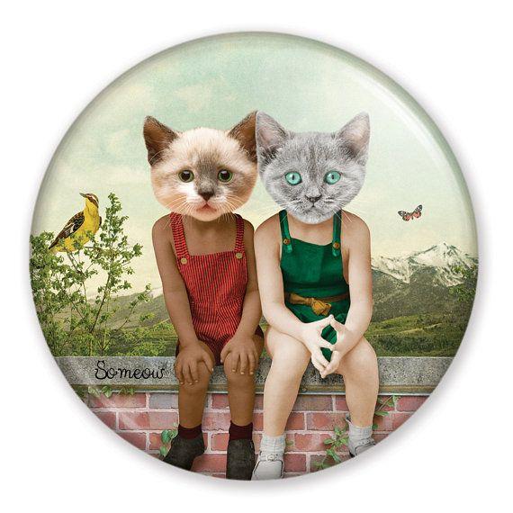 ENSEMBLE - Aimant pour réfrigérateur ou casier, idéal pour offrir en cadeau aux amoureux des chats. Illustration de chat par So Meow.