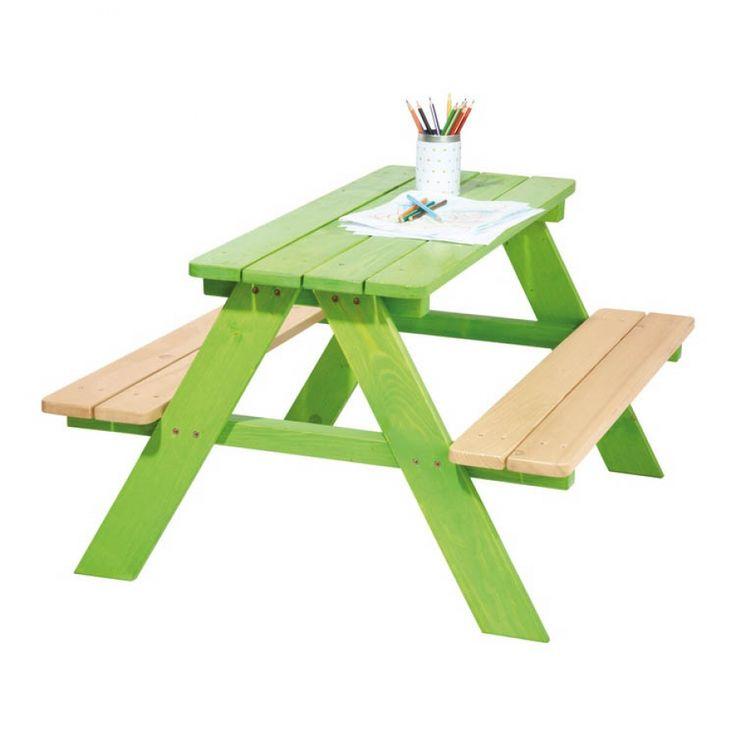 Picknicktafel Nicki - 4-zitsbank - massief vurenhout/helder groen gebeitst