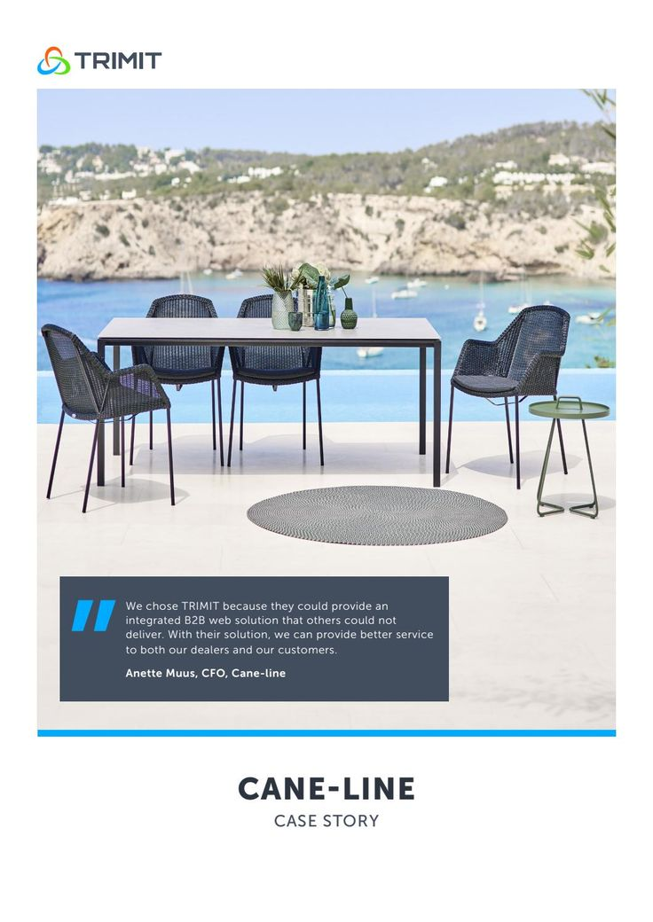 Furniture company Cane-line chose Microsoft Dynamics NAV with TRIMIT Furniture as their new ERP and ecommerce software solution.  TRIMIT Furniture adds industry specific capabilities to Dynamics NAV and it also comes with fully integrated webshops and portals that work out-of-the box.