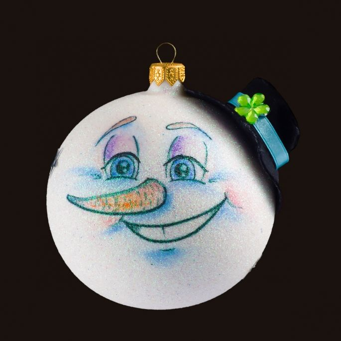 Mr Snowman - Personalized Glass Christmas Tree Bauble / Ball Ornament Decoration