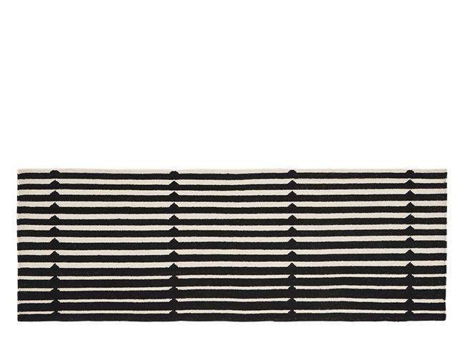 Vico, tapis de couloir rayé, 66 x 200 cm, noir et blanc