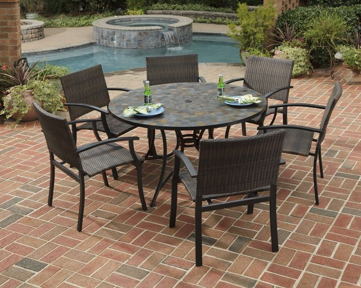 """Home Styles Stone Harbor 7PC Dining Set 51"""" Dining Table and Six Newport Arm Chairs"""